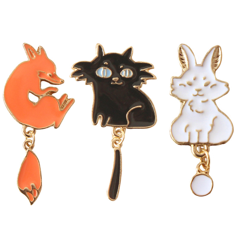 Cute Vintage Oil Drop Cartoon Fox Rabbit Cat Brooch Pins Jeans Clothes Decoration Jewelry For Women Christmas gift