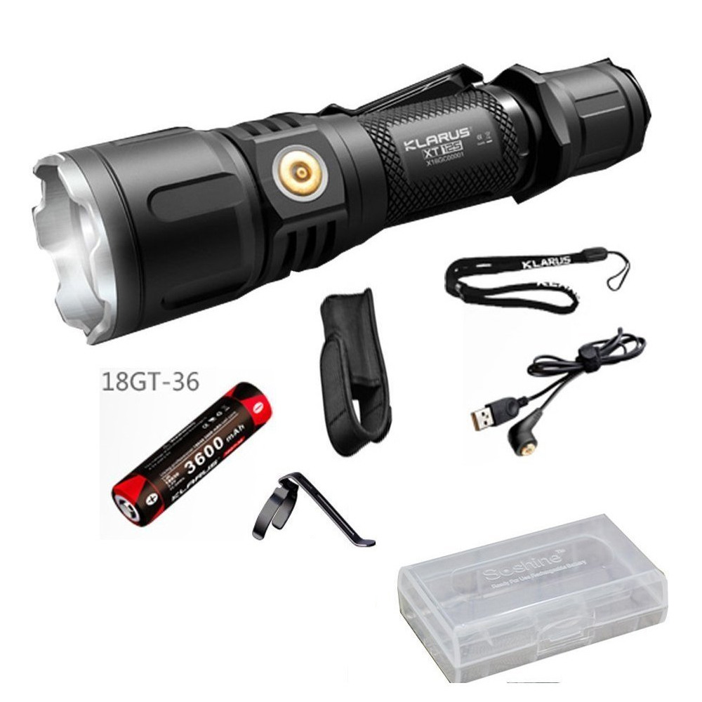 KLARUS XT12S Tactical LED Flashlight 1600 Lume CREE XHP35 HI D4 LED Torch with USB charging +3600mAh 18650 Battery for Hunting 3800 lumens cree xm l t6 5 modes led tactical flashlight torch waterproof lamp torch hunting flash light lantern for camping z93