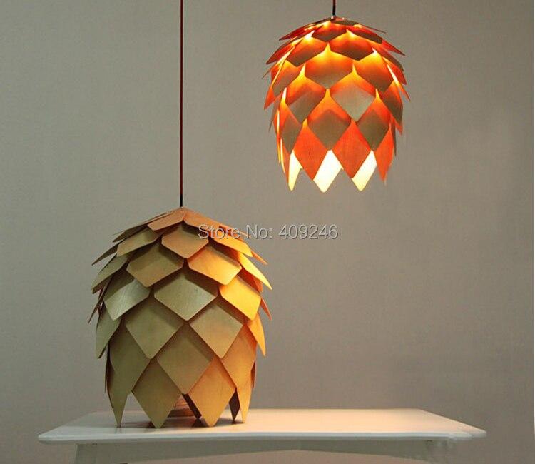 20cm  Modern Lamp Solid Wood Pine Cones Flower (DIY) Restaurant Office Study Decorative Pendant Light