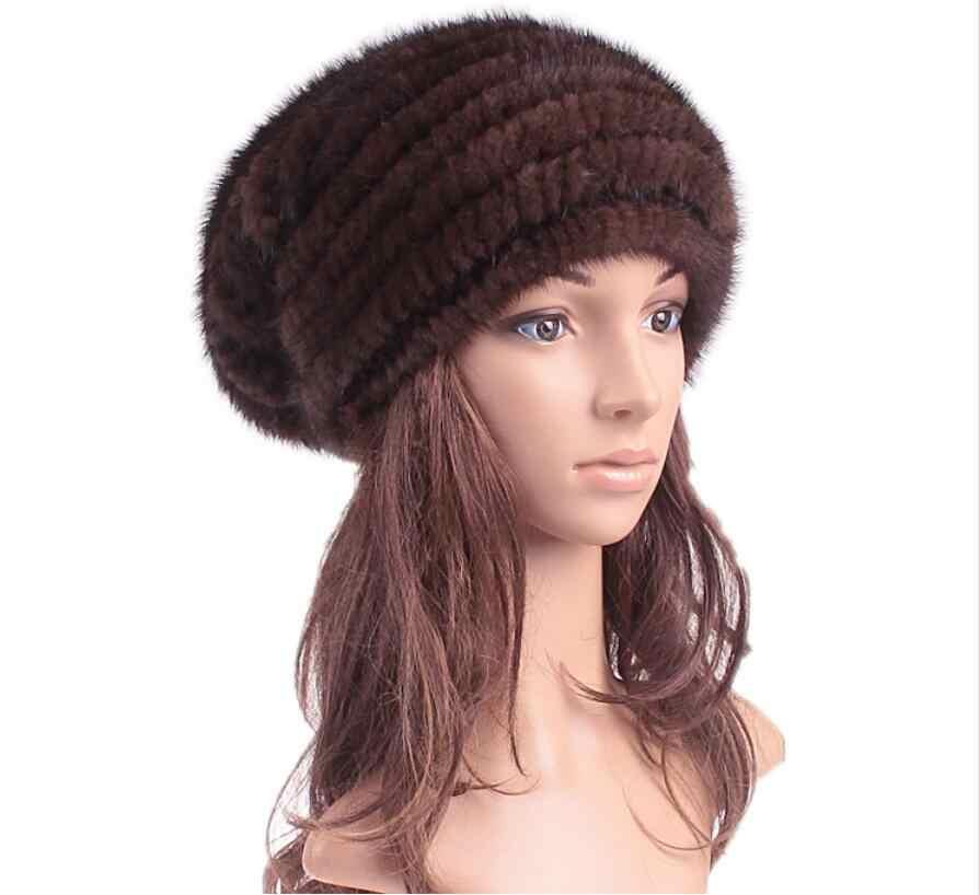 1ef49b58747 ... Natural mink fur baggy hat for women autumn winter white 4 colors big  marten fur caps ...