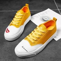2019 Hot Men Casual Canvas Shoes Yellow Blue Fashion Men Flats Shoes Anti Slip Canvas Mens Sneakers Original Youth Walking Shoes