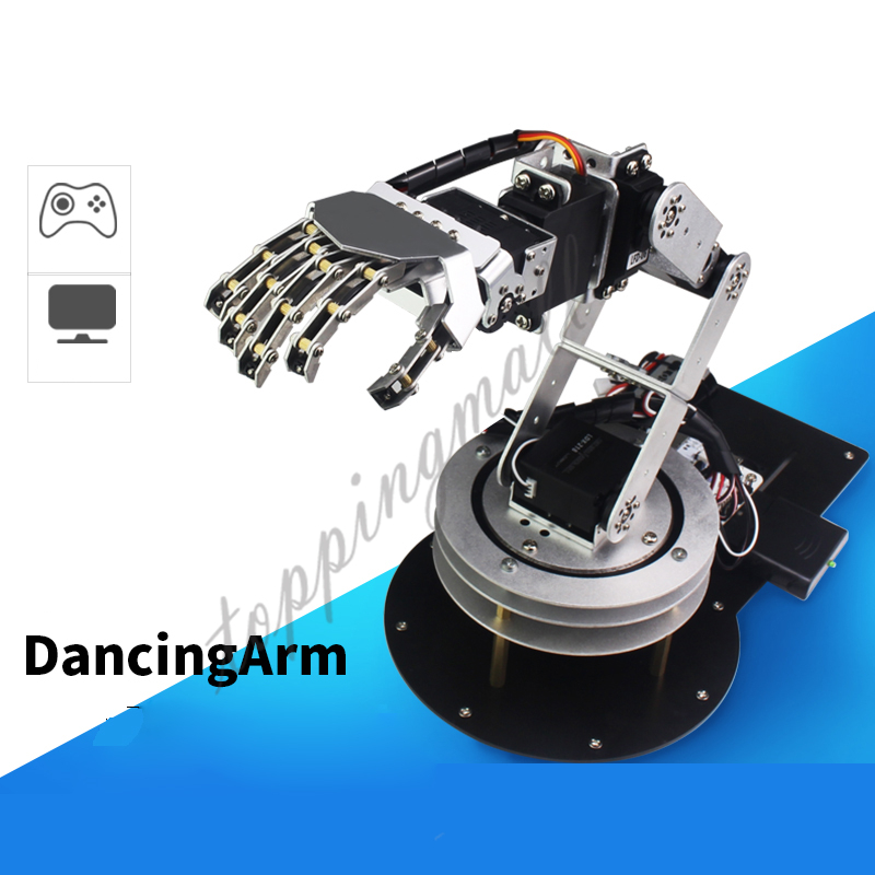 Metal Alloy 6 DOF Robotic Arm Dancing Arm with Five Fingers Hands & Swivel Rotatable Stand Mount Kit for Humanoid DIY 20% OFF цены