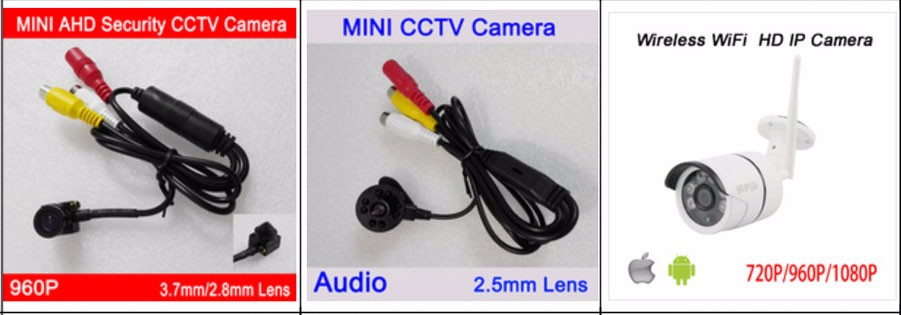 Plastic Black Color Audio 3.7mm Lens Mini CMOS Infrared night vision 720P/1080P AHD CCTV Surveillance cameras Free Shipping