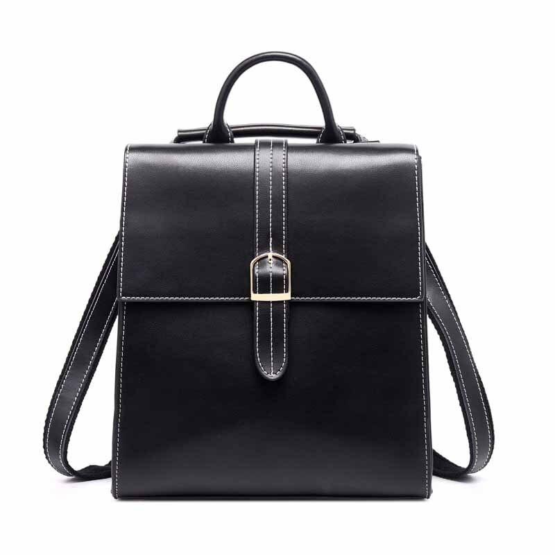Lady Backpack Travel College-Wind Waterproof SAFEBET Women's 100%Genuine-Leather Zipper