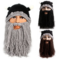Men Novelty Horn Knitted Caps with Mustache Face Mask Warm Winter Special Design Fashion Hat Skullies Black/Grey/Coffee