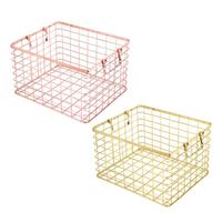 Large Laundry Basket Golden Wrought Iron Storage Rose Gold Hamper Handle Storage Basket Box Clothing Storage Desktop Finishing