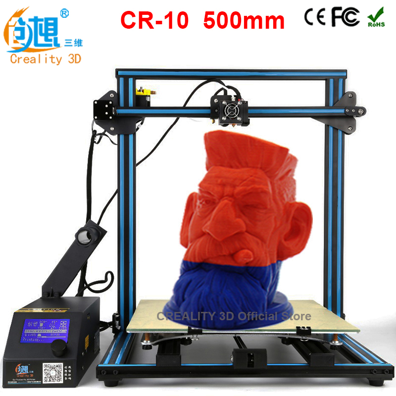 CREALITY 3D Printing Size 500*500*500mm Full Metal Frame High Precision CR-10 3D Printer DIY Kit With Aluminum Hotbed LCD Gift metal frame linear guide rail for xzy axix high quality precision prusa i3 plus creality 3d cr 10 400 400 3d printer diy kit