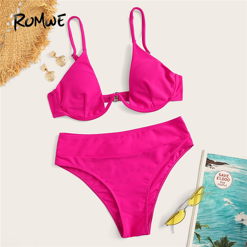 Romwe Bikinis-Set Underwire-Top Bottoms Suits Swimwear Women Pink Two-Pieces Sexy High-Waist