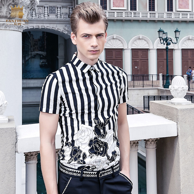 Free shipping New male fashion summer men's Large size Shirt Mens black and white striped short sleeved printing 612050 On Sale
