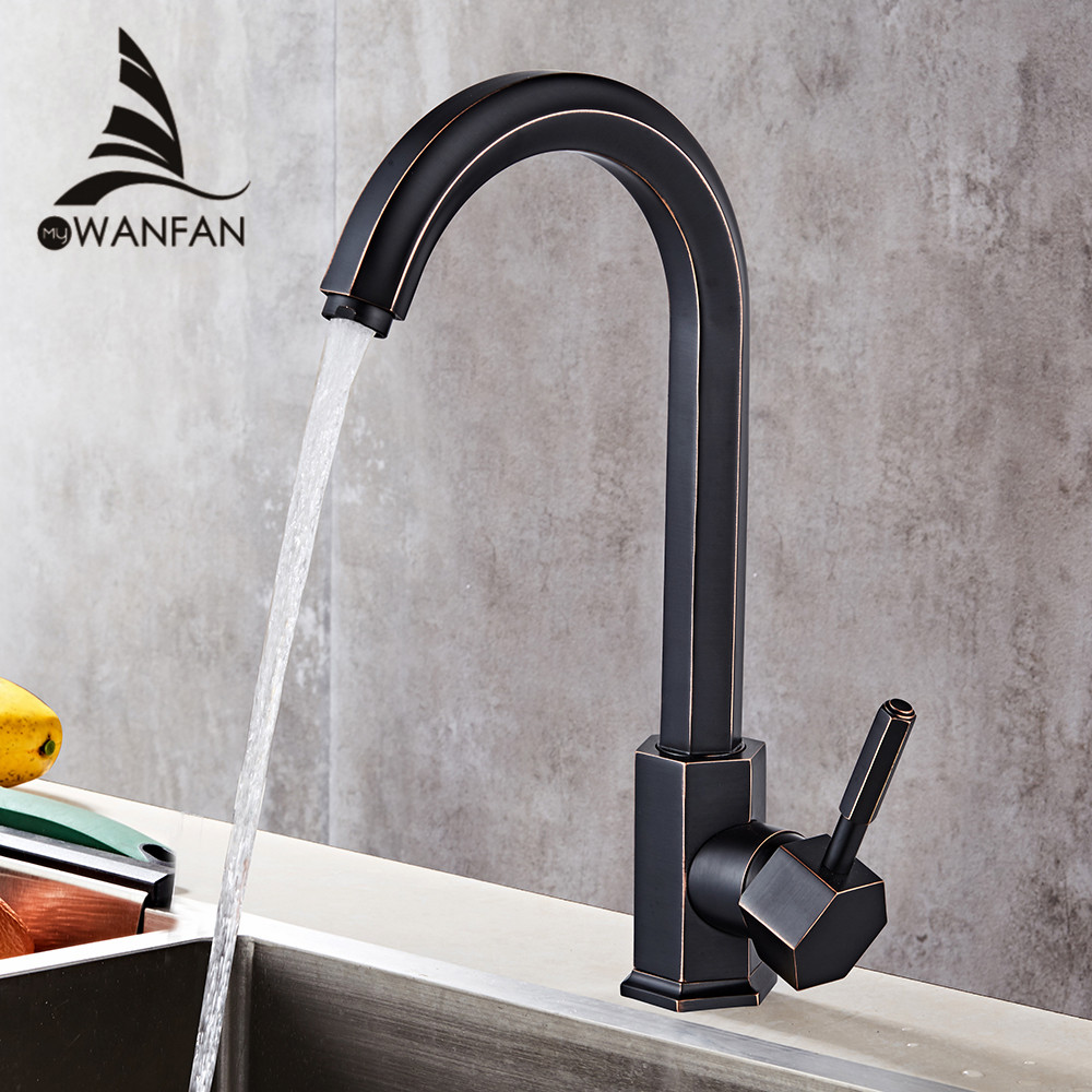 Kitchen Faucet Kitchen Sink Faucet Single Lever Black Swivel 360 Degree Water Mixer Tap 2 Hose Hot and Cold Water Mixer WF-5089 deck mounted kitchen sink faucet 360 degree swivel hot and cold water mixer tap oil rubble bronze black faucet