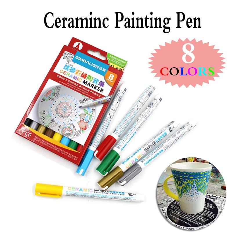 8 colori di Ceramica della Penna Della spazzola dipinta A mano FAI DA TE Creativo di Vetro Disegno Penna di Indicatore di Trasporto Al Forno Tazza di pittura penna vernice