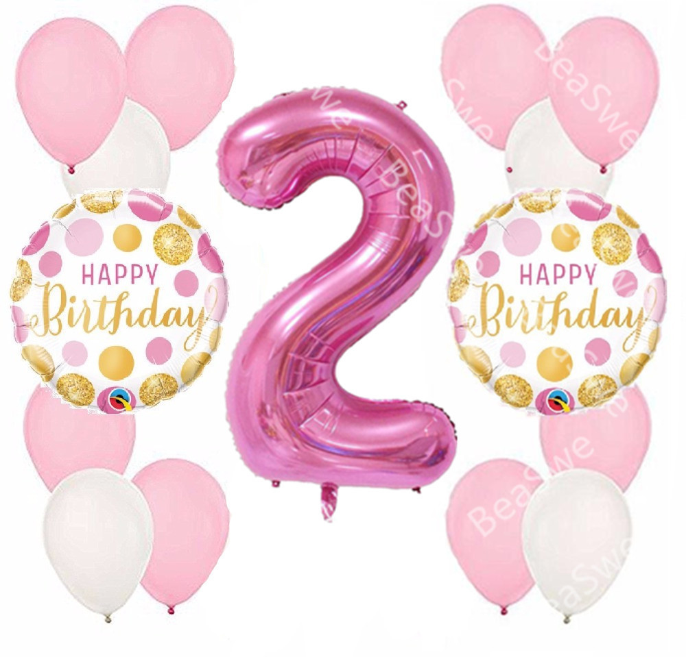 15pcs Lot 1st Birthday Decoration Pink Princess Girl Balloons 40 Inch Number 2 Year Old Kids