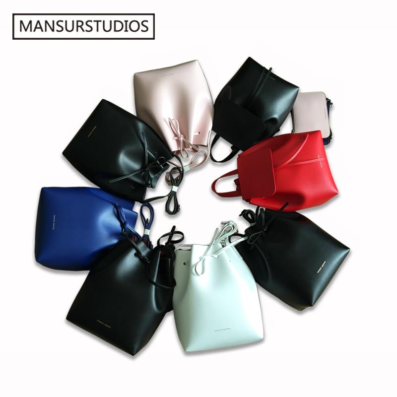 Newest MANSURSTUDIOS bucket bag mansur women split leather shoulder bag gavriel lady real leather cross bag