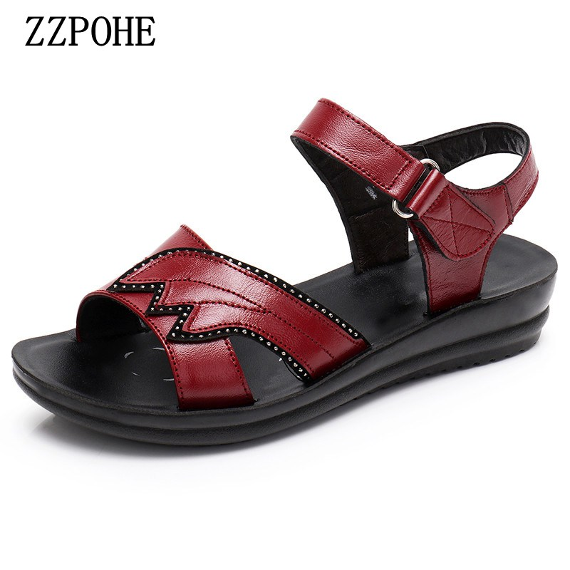 ZZPOHE Summer Beach Shoes Ladies Fashion Leather Flat Sandals Women Casual Comfortable Sandals elderly Soft bottom sandals zzpohe 2017 summer new woman slippers fashion women flat casual flip flops sandals ladies soft bottom comfortable beach shoes