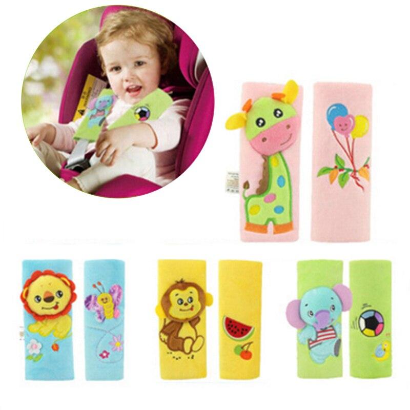 2PCS/pair Cute Baby Rattles Toy Cartoon Animal Safe Belt Baby Shoulder Pads Plush Toys Longer Insurance Belts Kids Seat Gift