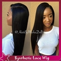 Hot Black Hair Wigs Light Yaki Straight Cheap Natural Wig Synthetic Lace Front Wig With Middle Part No Lace Hair For Black Women