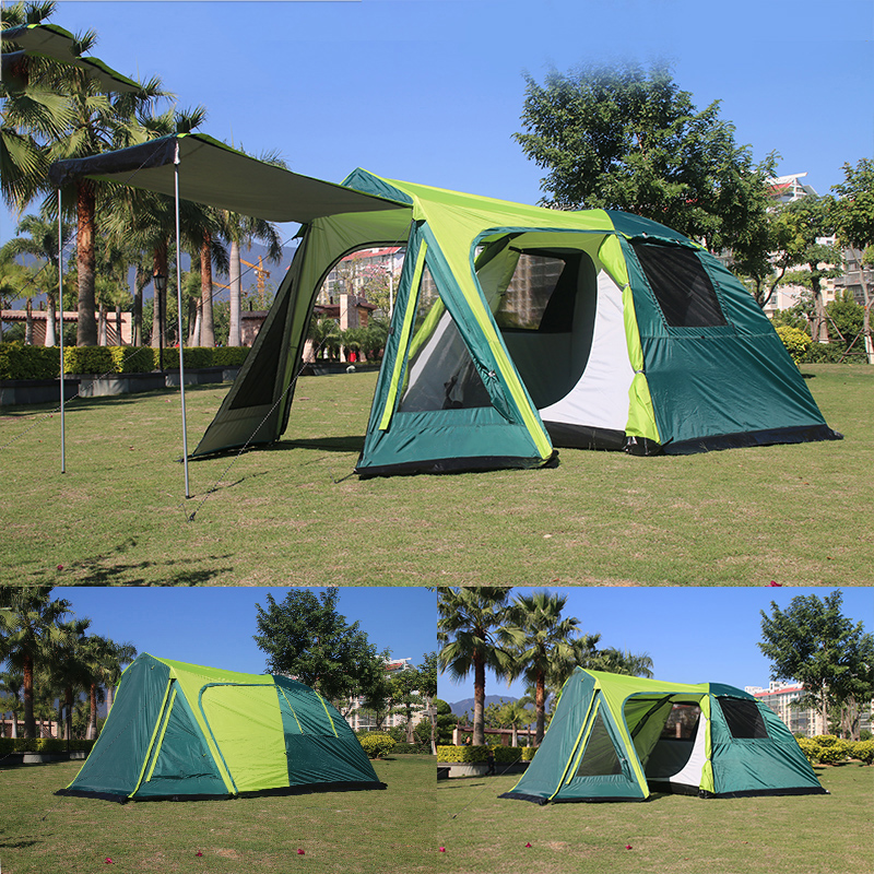 COOLWALK Camping Tent Outdoor Double Layer Hiking Tourist Tent Large Four Season Waterproof Two Door Family Tents for 3-4 Person octagonal outdoor camping tent large space family tent 5 8 persons waterproof awning shelter beach party tent double door tents