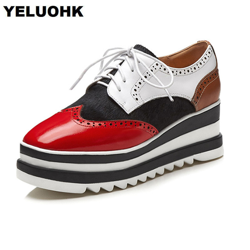 2018 Brand New Genuine Leather Women Shoes Flats Fashion Horsehair Platform Shoes Brogue Women Lace Up Sping Ladies Shoes Wedges