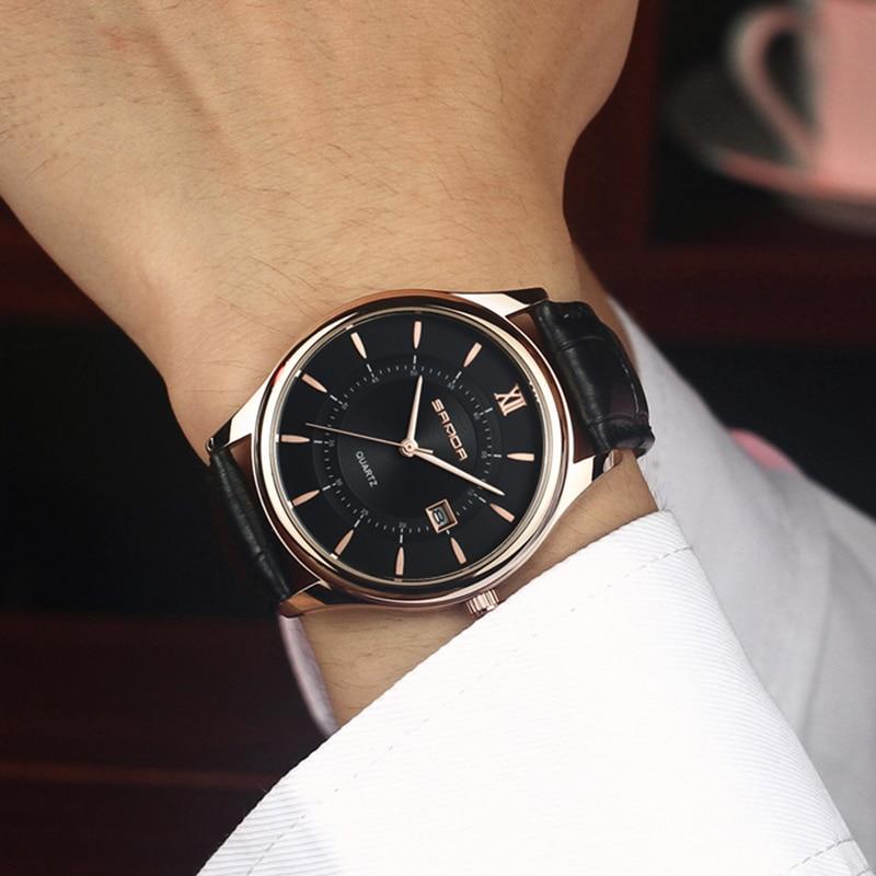 8a28e177466 SANDA Couro Bussiness dos homens Relógios Top Marca de Luxo Da Moda Relógios  de Quartzo Homens