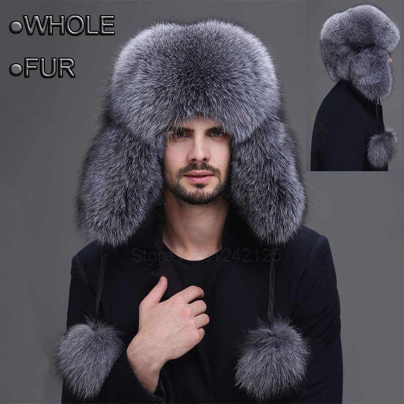 5365d30c Winter men women Aged whole leather fur hat male thicken men's real genuine  silver blue fox