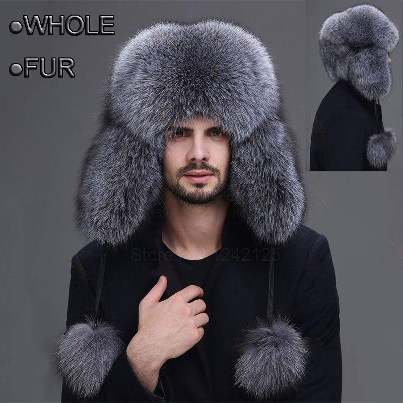 Winter men women Aged whole leather fur hat male thicken men's real genuine silver blue fox full warm ear Earmuff fur hats caps
