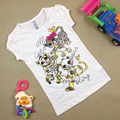 Summer fashion girl short sleeve T shirt top lovely girl horse pattern T-shirt 100% cotton Tees t-shirt gray colors