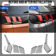 For Peugeot 3008 / 3008 GT 2017 2018 2019 Car Auto Accessories Rear Tail Light Lamp Honeycomb Protector Sticker Accessories цена 2017