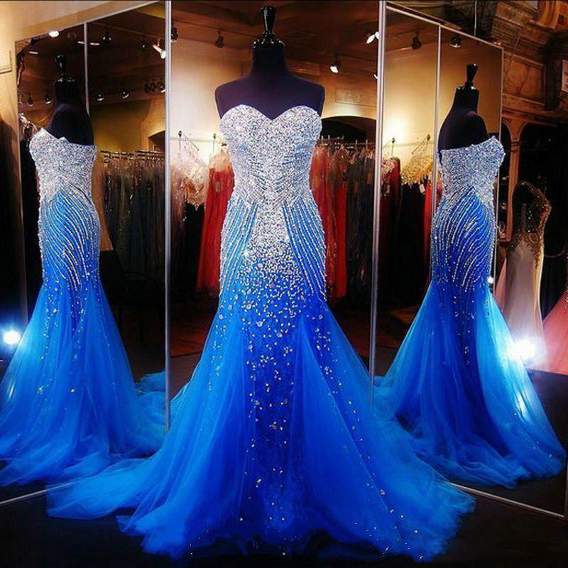 59454d3a044 Sexy Elegant Mermaid Prom Dresses for Pageant Women Lace up Long Tulle with  Rhinestones Runway Corset