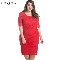 LZMZA High Quality Elegant Lace Dresses Large Size 2018 Spring Summer Floral Lace Zippers Sexy Sheat