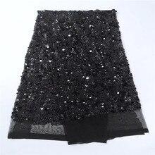 Бесплатная доставка Последние африканские Кружево Ткань в Sequines 5yard блестка черный блесток Ткань 2017 высокое качество блесток ажурная ткань
