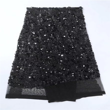 Free Shipping latest African Lace Fabric in sequines 5yard paillette BLACK sequin fabric 2017 high quality sequin mesh fabric
