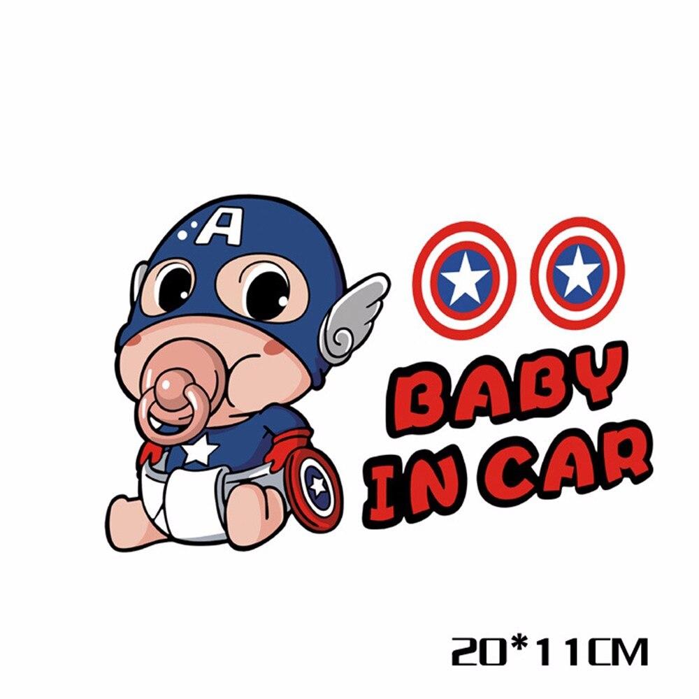 Car Styling Baby In Car On Board Sticker Captain America Cartoon Warning Decal