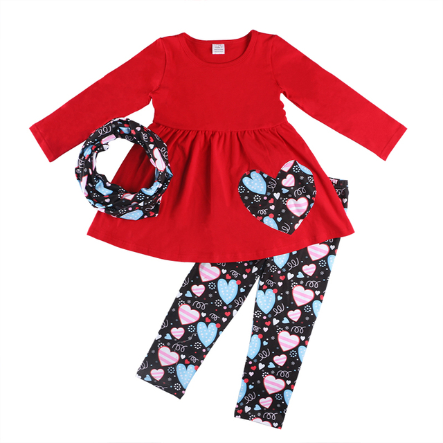 50ef3fa8 Kaiya Angel 3pcs Children Girls Valentines day Outfits Red Skirt Long  Sleeve Top With Heart Print Scarf Pants Wholesale Clothes