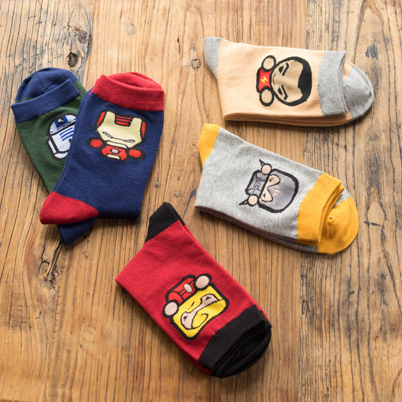 2016 New Fashion High Quality Men Socks Super Hero Style Cotton Socks Autumn Winter Young Men Sox 5 Colors For Choose