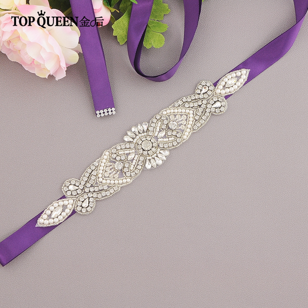 TOPQUEEN S208 Wedding Sash Crystal Rhinestone Bridal Belts For Women Night Dress Belts Wedding Belt Wedding Accessories Marriage