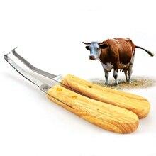 Cattle Hoof Knife Knives Double Edge Blade Farrier Equine Horse Goat Sheep Wood Handle kit Left + Right Hand Straight Knife