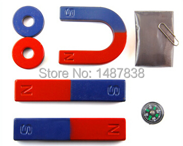 Magnetic Teaching Tool Kit Horseshoe Magnet U type and compass with two rings two bar magnet / Toy magnet teaching magnet tool kit new pack incl horseshoe u type and compass ring bar rod magnets toy magnet for teaching and experiment