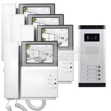 DIYSECUR 4.3″ HD Monitor Apartment Video Door Phone Video Intercom Doorbell System 700 TVLine IR Camera Touch Key for 4 Families