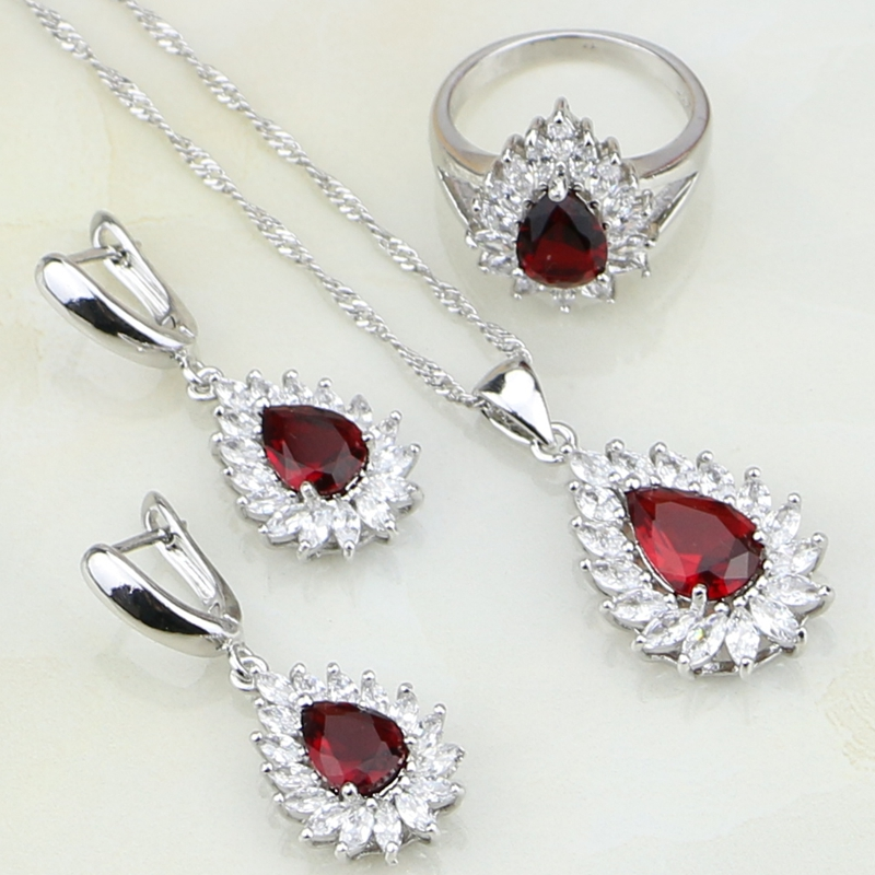 Drop Red Stones White CZ 925 Sterling Silver Jewelry Sets For Women Earring/Pendant/Necklace/Bracelet/Ring Free Gift Box free shipping high grade empty rose red jewelry boxes ring pendant bracelet necklace packing box