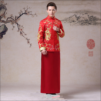 Dragon Embroidery Chinese Men Marriage Clothes Oriental Bridegroom Wedding Party Costume Suit Male Toast Clothing S M L XL