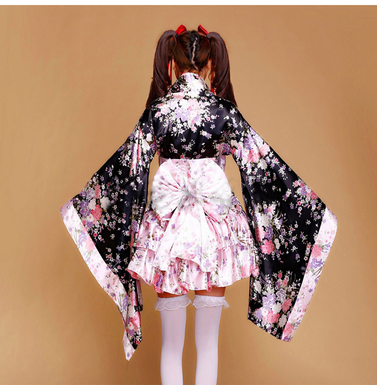 Heavy cherry blossoms sakura Janpanese kimono cosplay costumes for women vestido princess lolita dress Maid service onesie
