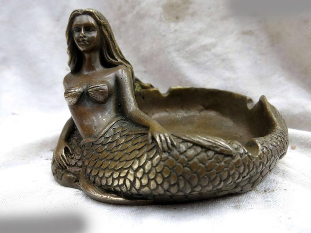 DS China Copper Brass Beautiful Mermaid Ashtray NAUTICAL DECOR Decor Statue Figure