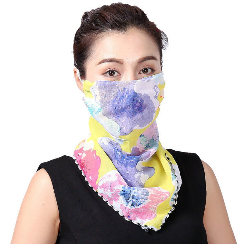 Summer Outdoor Riding Fashion Print Neck Sunscreen Driving Sunshade Scarf Breathable Refreshing Scarf Mask