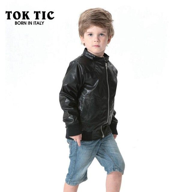 050c5a823940 TOK TIC BRAND leather jacket boy children spring autumn Faux leather coat  kid boy windbreaker cool