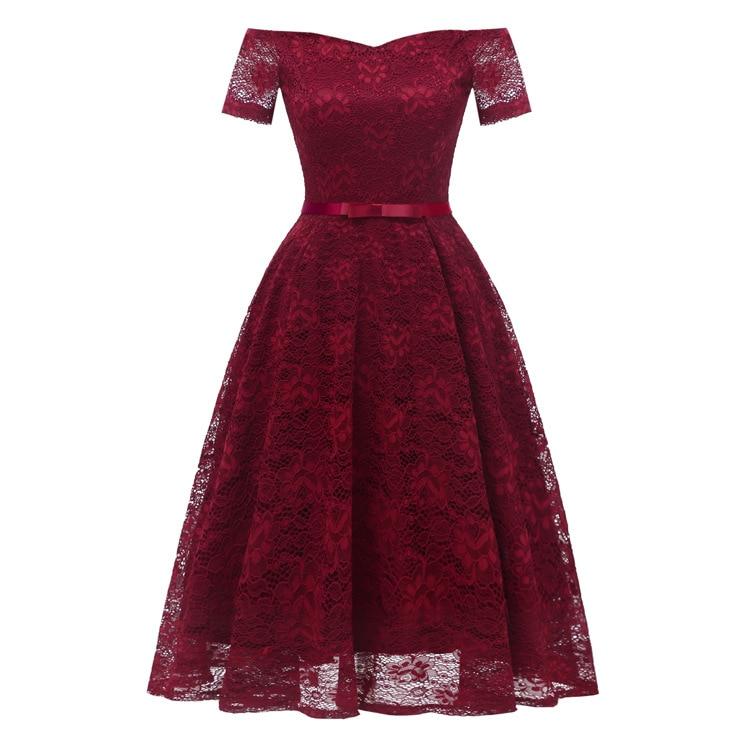 Off Shoulder Burgundy Lace   Cocktail     Dresses   Bow vestidos elegant Short Formal   Dress   party 2019 Homecoming   Dress