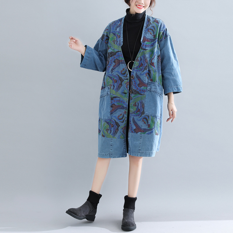 Harajuku personality V neck trench coat for women plus size loose long coat denim jeans windbreaker vintage streetwear overcoat