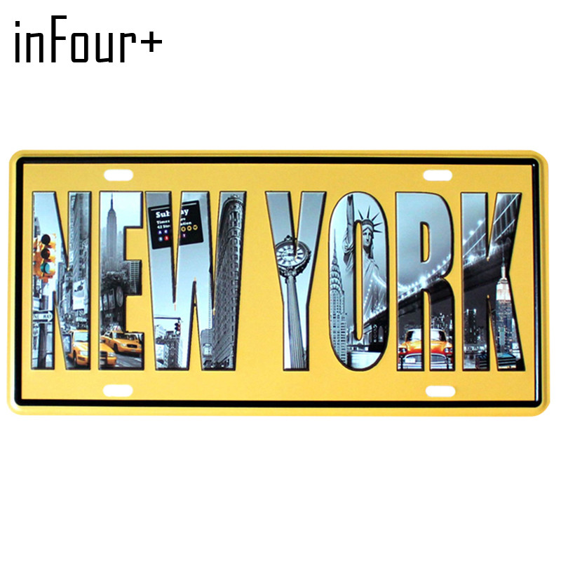 [inFour+] Yellow NEWYORK Plate Metal Plate Car Number Tin Sign Bar Pub Cafe Home Decor Metal Sign Garage Painting Plaques Signs