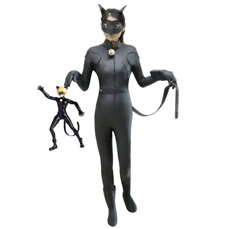 где купить Anime Cosplay Costume kids Miraculous Ladybug Cat Noir Black Jumpsuits Halloween Costumes For Girl Carnival Masquerade clothing по лучшей цене