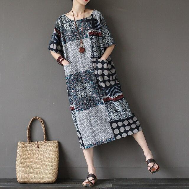 O-neck Short sleeve Plus size Women Dress Geometric print Pocket Original Summer Long Dress Vintage Robe Femme Vetsidos A121