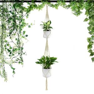 Image 1 - Wituse 1Pc Macrame Planten Hanger Haak 4 Benen Retro Bloempot Opknoping Touw Holder String Huis Tuin Balkon Decoratie wall Art